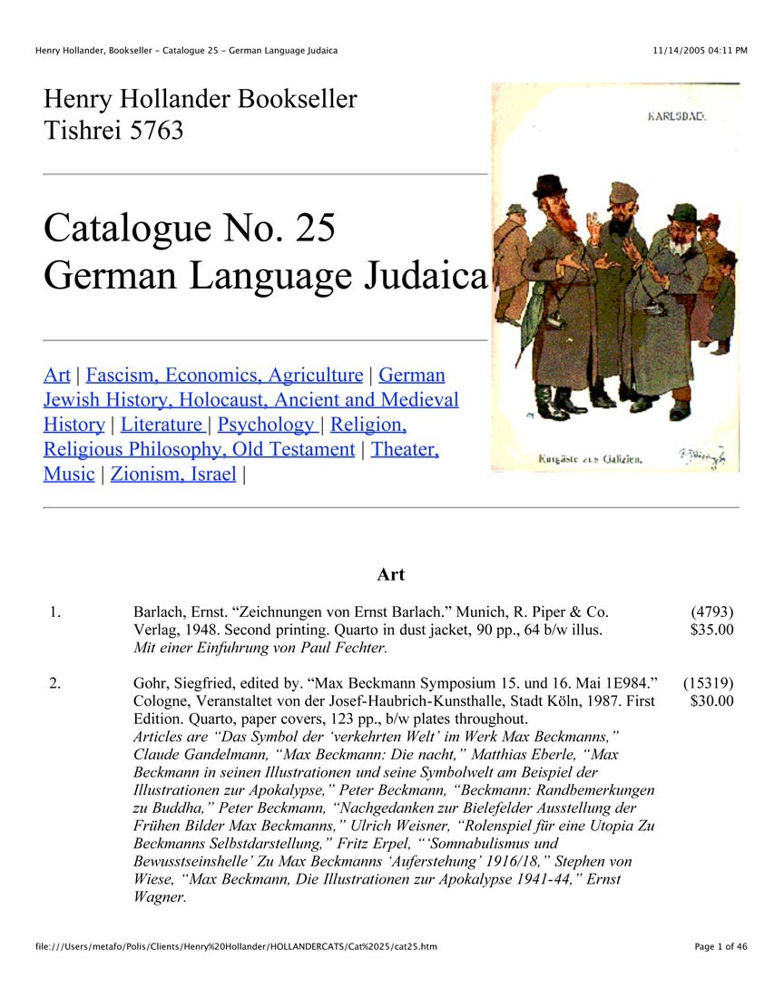 Catalogue No. 25 German Language Judaica