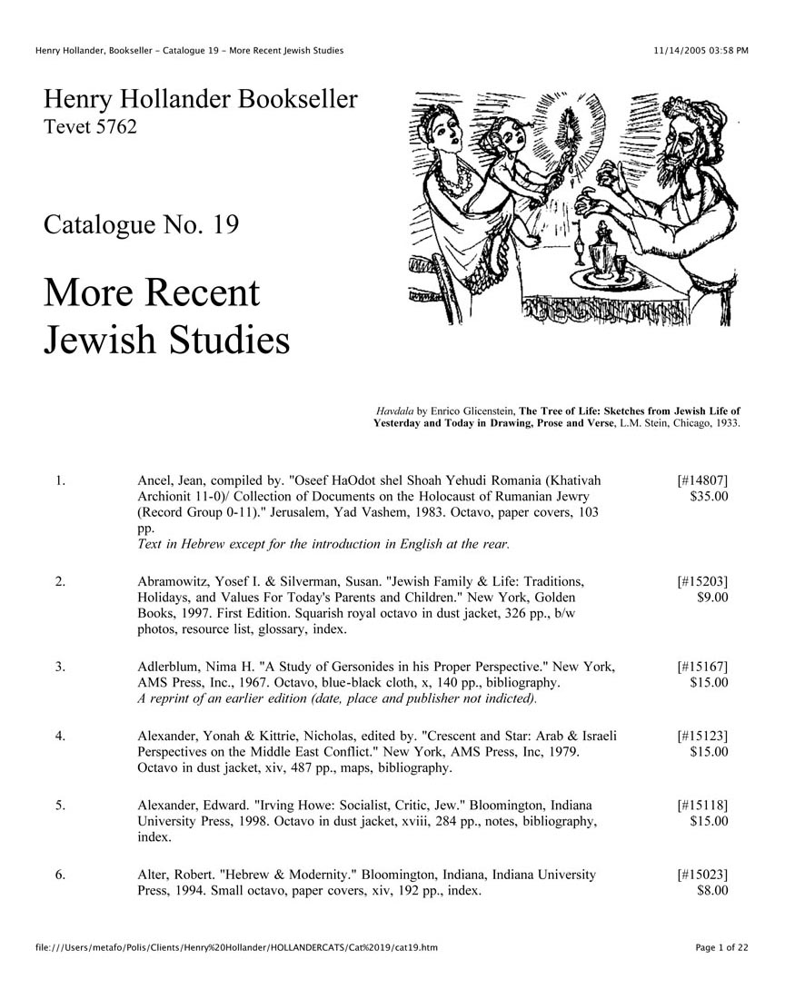 Catalogue No. 19 More Recent Jewish Studies