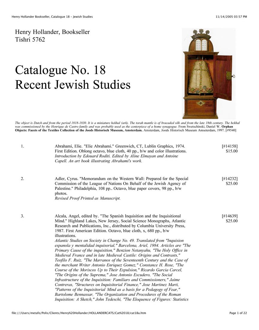 Catalogue No. 18 Recent Jewish Studies