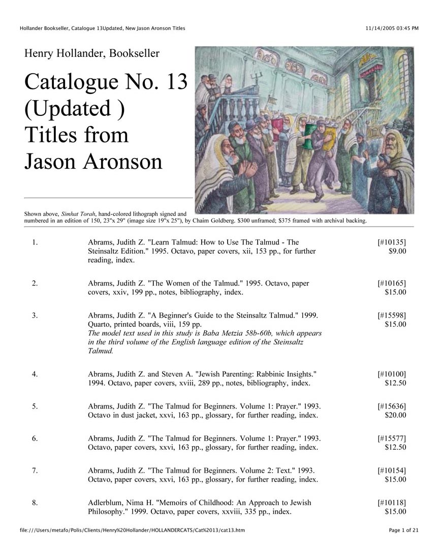 Catalogue No. 13 Aronson Titles (Updated Spring 2002)