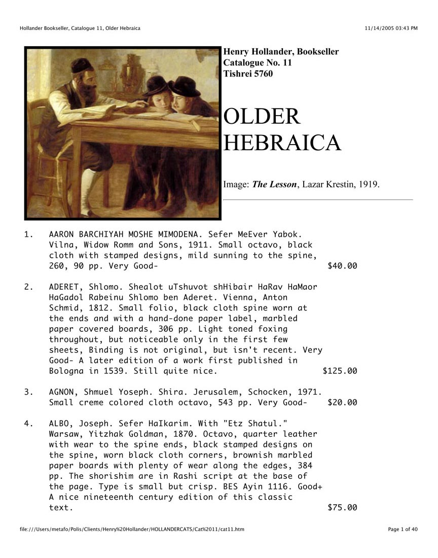 Catalogue No. 11 Older Hebraica