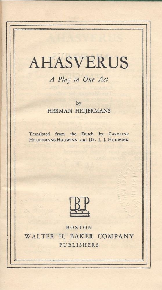 Ahasverus: A Play in One Act. Herman Heijermans.