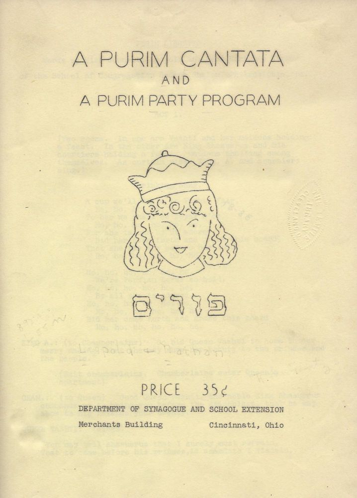 A Purim Cantata and A Purim Party Program. Jeanette Leopold, Hortense Nathan.