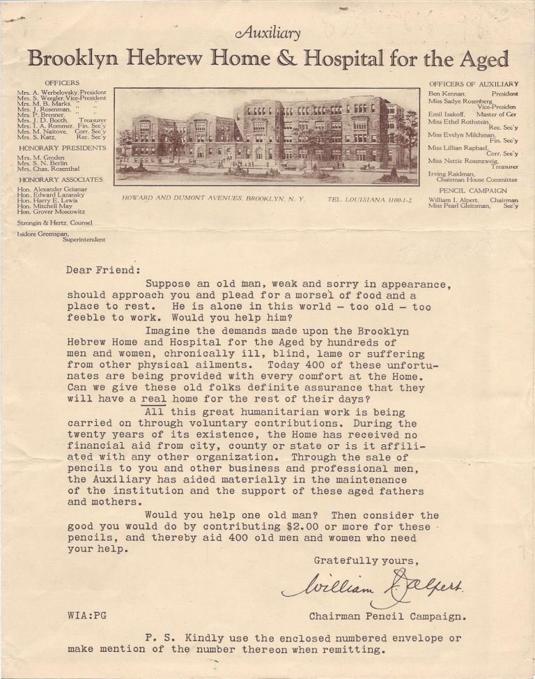 Auxiliary Brooklyn Hebrew Home & Hospital for the Aged [fund-raising letter]. William I. Alpert.