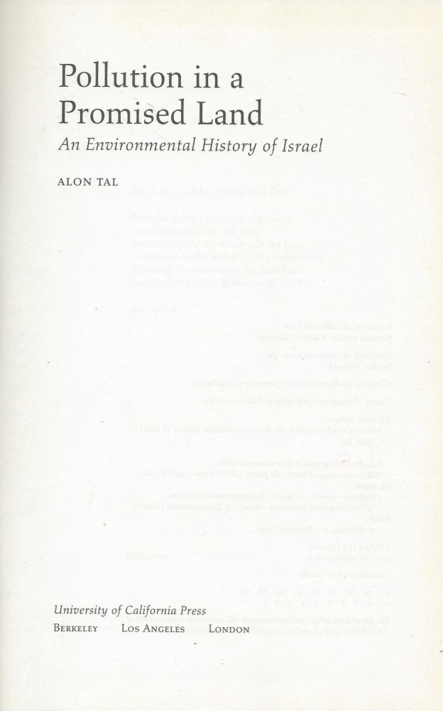 Pollution in a Promised Land: An Environmental History of Israel. Alon Tal.
