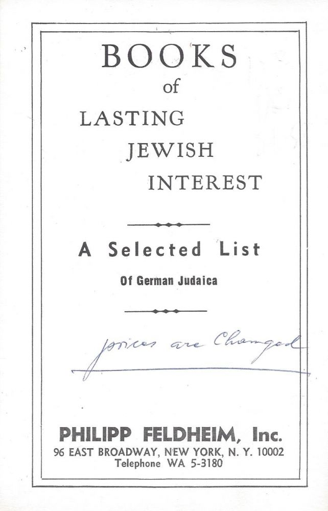 Books of Lasting Jewish Interested: A Selected List of German Judaica.