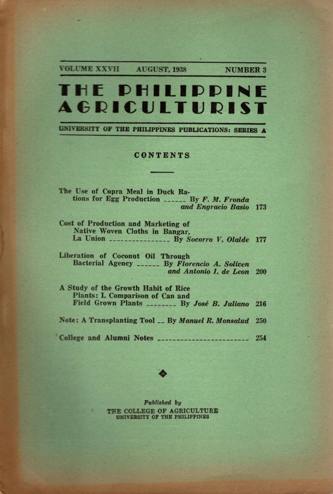 The Philippine Agriculturalist, Volume XXVII, August, 1938, Number 3. University of the Philippines Publications: Series A. B. M. Gonzalez.