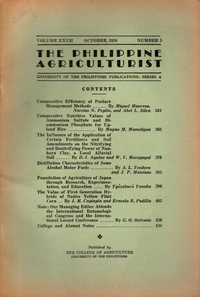 The Philippine Agriculturalist, Volume XXVII, October, 1938, Number 5. University of the Philippines Publications: Series A. B. M. Gonzalez.