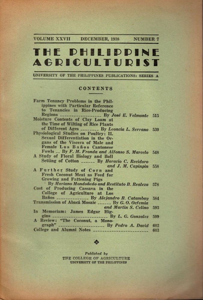 The Philippine Agriculturalist, Volume XXVII, December, 1938, Number 7. University of the Philippines Publications: Series A. B. M. Gonzalez.