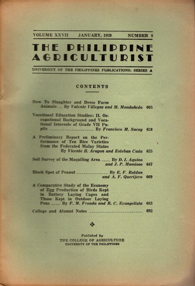 The Philippine Agriculturalist, Volume XXVII, January, 1939, Number 8. University of the Philippines Publications: Series A. B. M. Gonzalez.