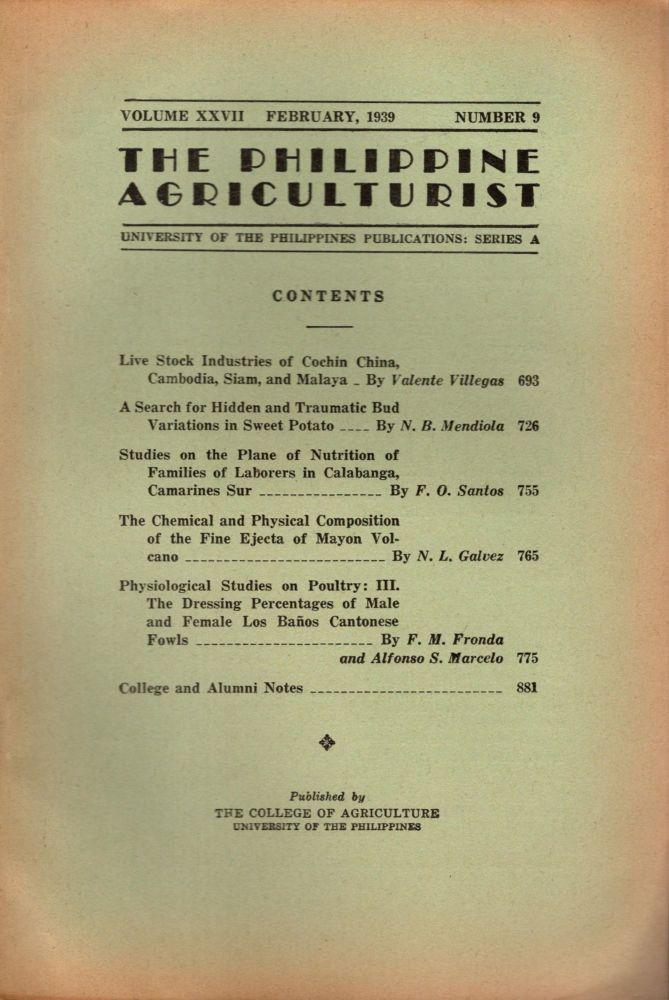 The Philippine Agriculturalist, Volume XXVII, February, 1939, Number 9. University of the Philippines Publications: Series A. B. M. Gonzalez.