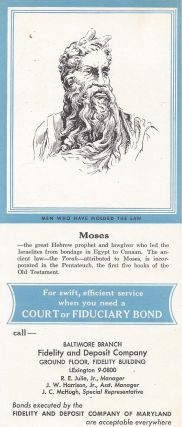 Trade card for the Baltimore Branch, Fidelity and Deposit Company.
