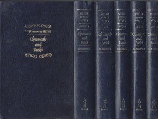 Chumash with Targum Onkelos, Haphtoroth and Rashi's Commentary. In Five Volumes. M. Rosenbaum