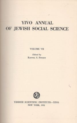 YIVO Annual of Jewish Social Science Volume VII. Koppel S. Pinson
