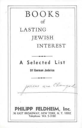 Books of Lasting Jewish Interested: A Selected List of German Judaica