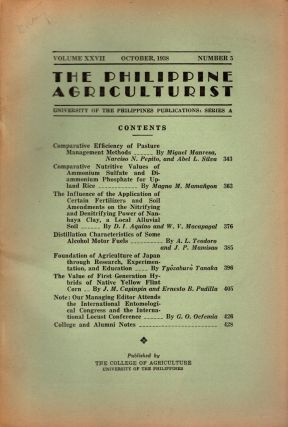 The Philippine Agriculturalist, Volume XXVII, October, 1938, Number 5. University of the...