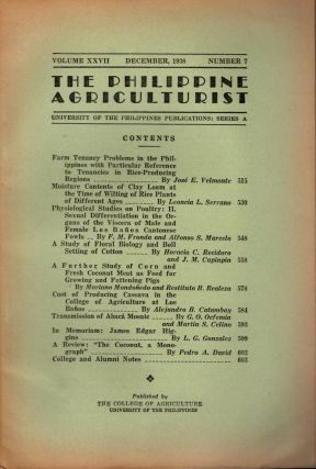 The Philippine Agriculturalist, Volume XXVII, December, 1938, Number 7. University of the...