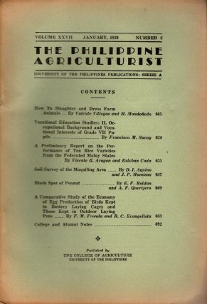 The Philippine Agriculturalist, Volume XXVII, January, 1939, Number 8. University of the...